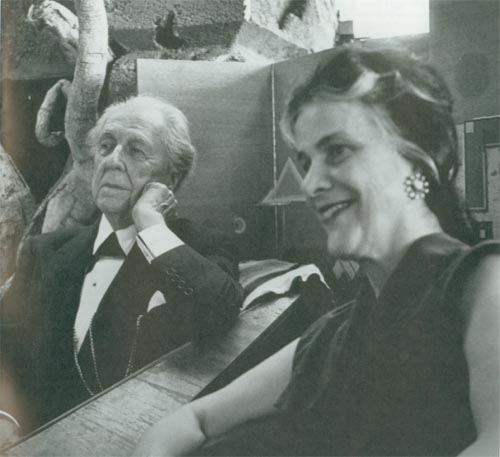 Famous American architect Frank Lloyd Wright and Olgivanna Lloyd Wright in Taliesin West living room in Arizona in 1957