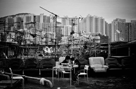Trên mái tòa nhà công nghiệp Kwun Tong