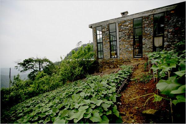 Toàn ngôi nhà nhìn từ sườn núi phía dưới: tường đá và những ô kính mở rộng từ trần đến sàn