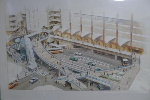 Bản vẽ thiết kế một đường phố nhiều tầng bên ngoài trung tâm thương mại của TS KTS Mochizuki Shinichi.