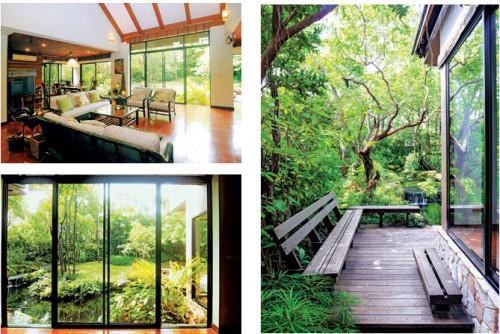 Ảnh trên: Từ trong nhà, tầm nhìn có thể ôm trọn cảnh suối và cây như ở giữa rừng.  Ảnh dưới Đóng khung một góc vườn. Ảnh trái Góc ngồi bố trí từ nhiều phía của khu vườn.