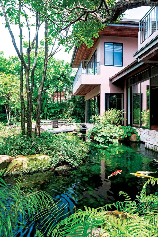 Hồ nước uyển chuyển ôm quanh ngôi nhà.