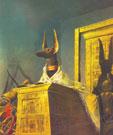 Tượng chó rừng - Anubis (Vị thần Ai Cập có đầu chó rừng chuyên chăm sóc những người chết và các nghi thức tang lễ) trong căn phòng mộ của Pharaon Toutankhamon đời thứ 8 (1350 trước C.N)