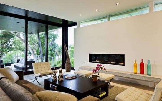 Phòng khách hiện đại với thiết kế mở kết hợp không gian khách ngoài trời.