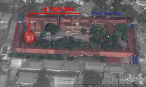 Vị trí xây dựng công trình mới trong khuôn viên ĐH Quốc Gia HN - Ảnh (c) Thái Linh