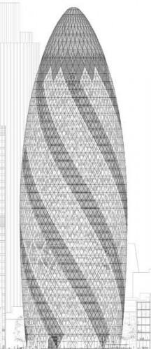 Mô hình của tòa nhà 30 đường Mary Axe - Ảnh © Foster + Partners.