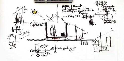Bản phác thảo tay mặt cắt ngôi nhà - Ảnh(c)Designboom