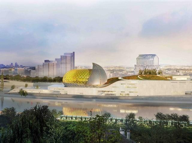 """Cité de l""""musicale départementale Ile Seguin, tại Boulogne-Billancourt, Pháp thiết kế bởi Shigeru Ban Architects Europe, phát triển bởi Bouygues Batiment Ile-de-France nhận đề cử Dự án Futura tốt nhất (Futura một kiểu chữ cái hình học thường có dạng tròn)."""