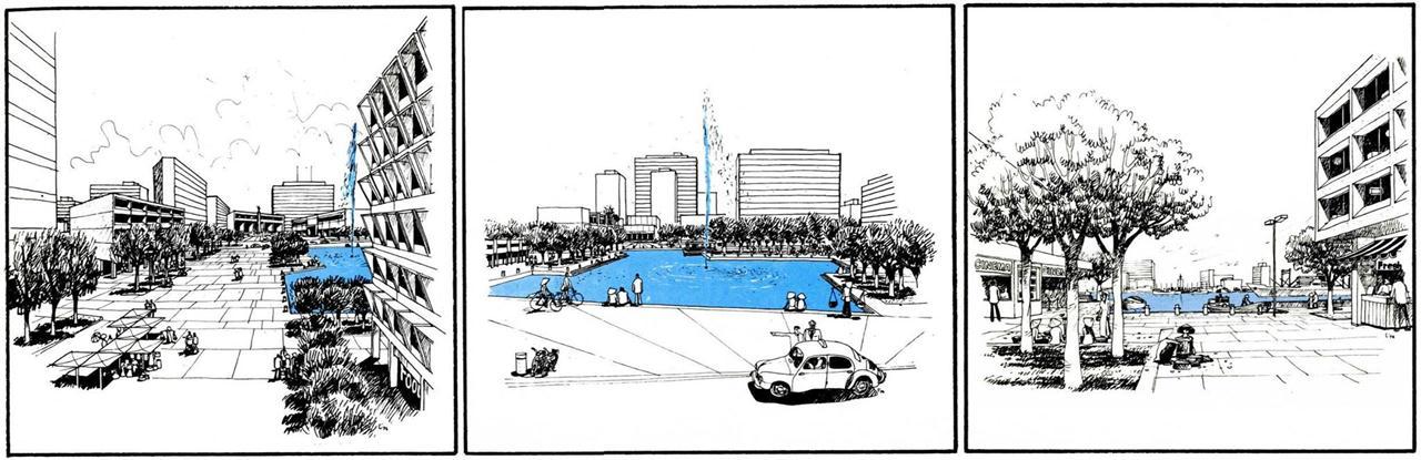 Phối cảnh của đồ án quy hoạch phát triển Thủ Thiêm năm 1972 (từ trái qua phải): Trung - tâm Chánh - Quyền, Trung - tâm Văn - hóa Giáo - dục và Khu Chợ búa. Nguồn: Wurster, Bernadi and Emmons Architects and Planners (1972)