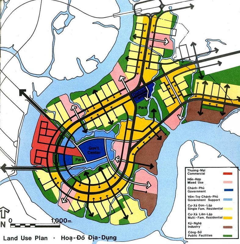 Bản vẽ quy hoạch sử dụng đất trong đồ án quy hoạch Thủ Thiêm năm 1972. Nguồn: Wurster, Bernadi and Emmons Architects and Planners (1972)