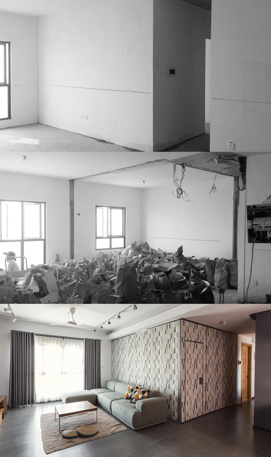 Căn hộ trước, trong và sau khi cải tạo