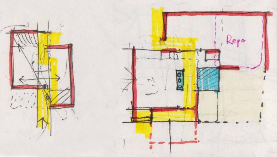 Ý tưởng sơ khai ban đầu về kết nối hai không gian và phân định bởi một đường giao thông ảo. Quá trình phát triển suy nghĩ đến việc bố cục những khoảng đóng mở, sắp xếp nội thất, … nhằm hướng đến những yêu cầu đặt ra từ ý tưởng