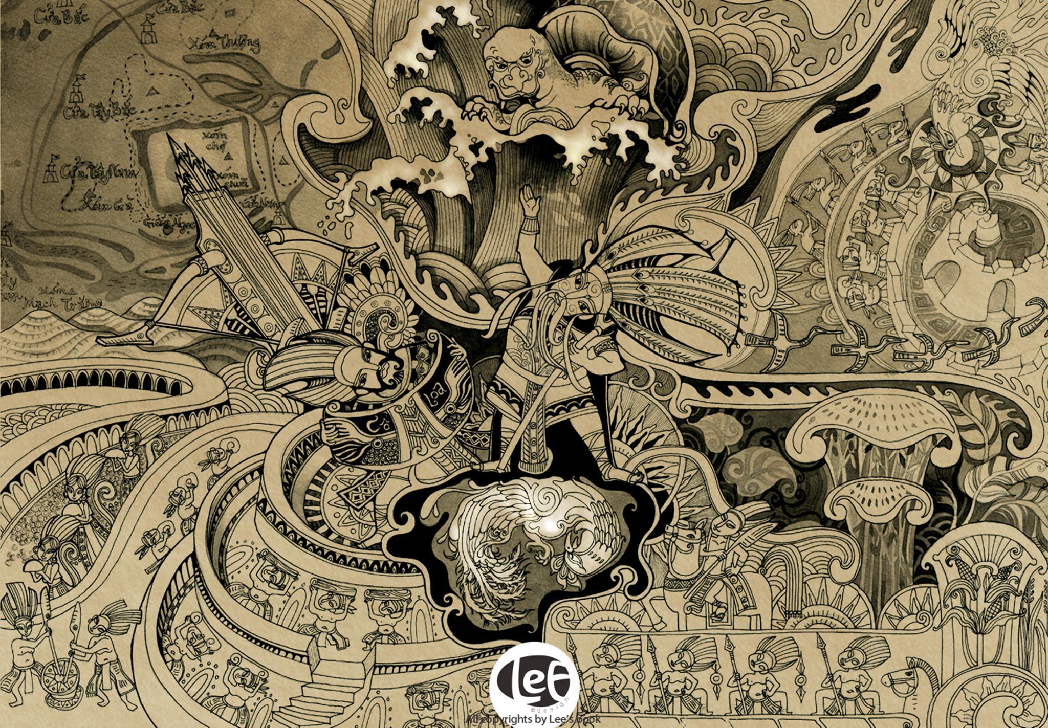 """Bức tranh """"An Dương Vương"""" - một trong những bức tranh tâm đắc nhất của Trong Lee"""