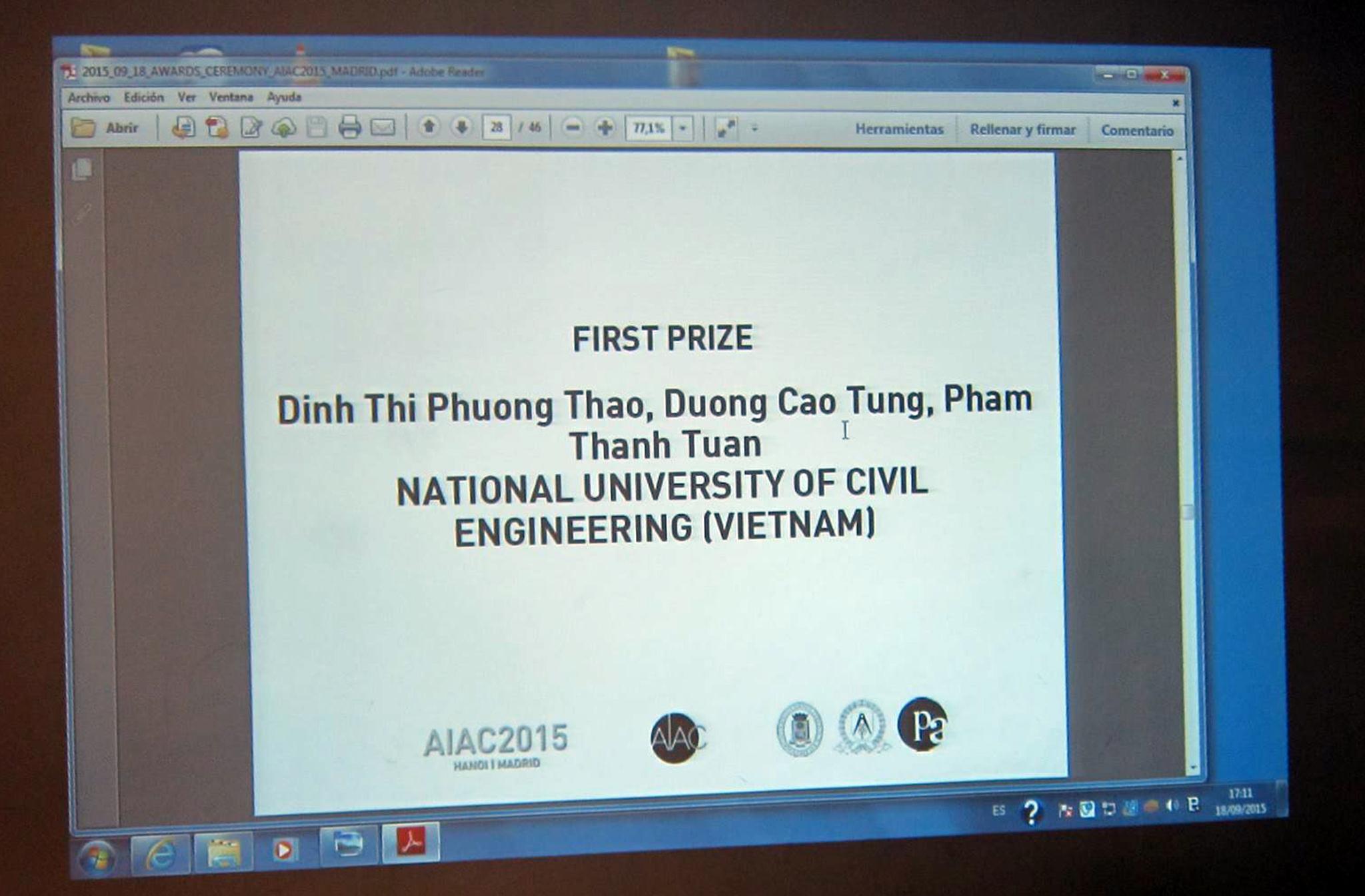 Màn hình công bố giải Nhất của AIAC 2015 (Ảnh: TS. KTS. Nguyễn Việt Huy)
