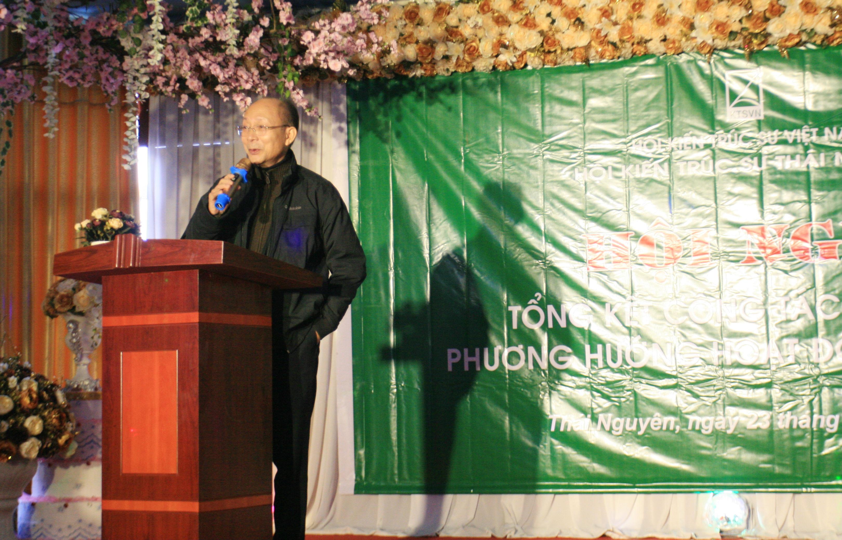 Ông Nguyễn Quốc Thông - Phó CT Hội KTS Việt Nam phát biểu tại Hội nghị