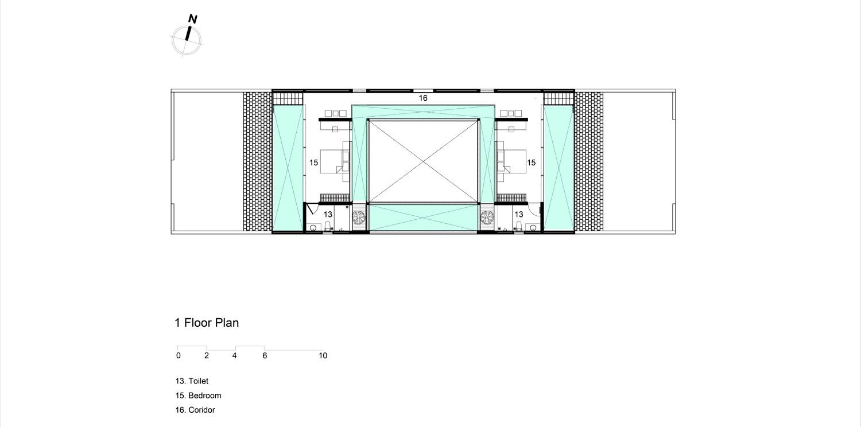 Mặt bằng tầng lửng cho thấy ngôi nhà có rất nhiều không gian rỗng bên cạnh các không gian chức năng.