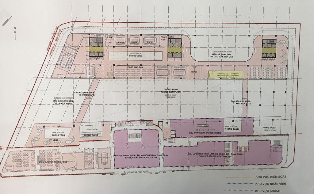 Thiết kế mặt bằng chi tiết công trình xây dựng mở rộng, nâng cấp trụ sở HĐND, UBND TP.HCM ẢNH: ĐÌNH PHÚ CHỤP LẠI TỪ TRIỂN LÃM