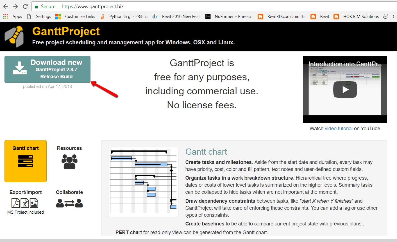 Giao diện website tải phần mềm Grantt Project