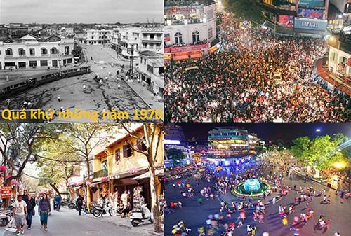 Những hình ảnh khu nội đô thay đổi theo thời gian: Hồ Gươm 1970, Tết 2015 và ngày 01/9/2016, hai trương phố đi bộ quanh Hồ Gươm.