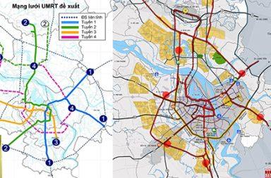 Sơ đồ mạng lưới đường sắt đô thị trong tài liệu HAIDEP công bố 2006 thể hiện, các tuyến đường sắt số 1,2,3 thực hiện cho đến năm 2018 cơ bản theo sơ đồ này và phương án do Citysolution đề xuất tích hợp đường sắt đô thị với đường sắt quốc gia, đi ngầm qua sông Hồng, tiếp cận các khu đô thị phát triển mạnh ở phía bắc Sông Hồng.