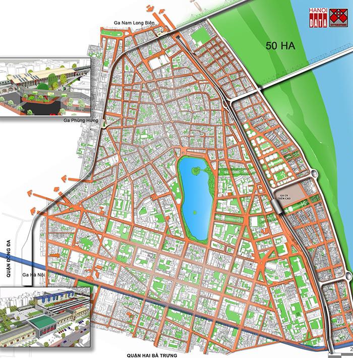 Vị trí Ga C9 trong tổng thể 3 tuyến đường sắt đô thị đi qua quận Hoàn Kiếm do Citysolution đề xuất mở thông 7 đường từ trong phố ra ngoài đê Sông Hồng, tăng giá trị 70 ha đất ngoài đê lên, giải phóng áp lực với khu vực phụ cận Hồ Gươm.