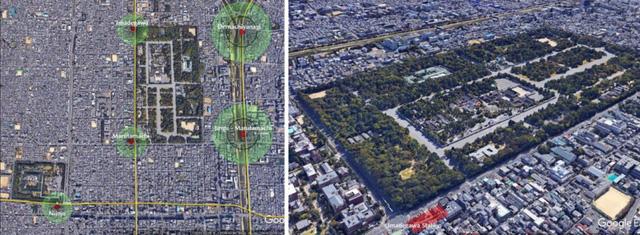 Hoàng cung và Phủ tướng quân Kyoto, vị trí 5 nhà ga và 3 tuyến ngầm. Vòng tròn nhỏ có bán kính 200m, vòng lớn là 500m