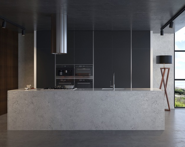 Lấy cảm hứng từ bề mặt giả xi măng, mẫu đá VICOSTONE Naxos (bộ sưu tập Natural) tăng thêm vẻ hiện đại cho căn bếp