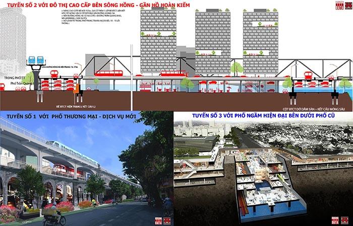 Phương án tuyến ĐSĐT 1,2,3 đi qua quận Hoàn Kiếm do CitySolution đề xuất 2018