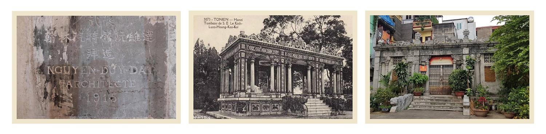 Hình 1: Bia trong lăng – Hình 2: Lăng mộ Hoàng Cao Khải nguyên gốc – Hình 3: Lăng mộ Hoàng Cao Khải hiện nay