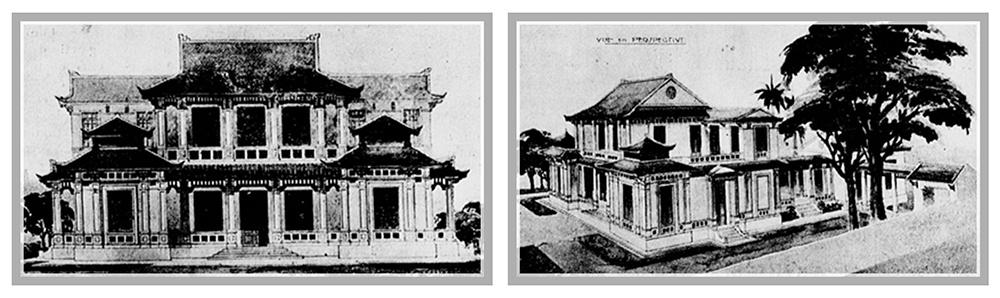 Hình 5: Phương án kiến trúc đoạt giải năm 1925 của Đỗ Văn Y. (Nguồn tạp chí L'Éveil écomonique de l'Indochine)