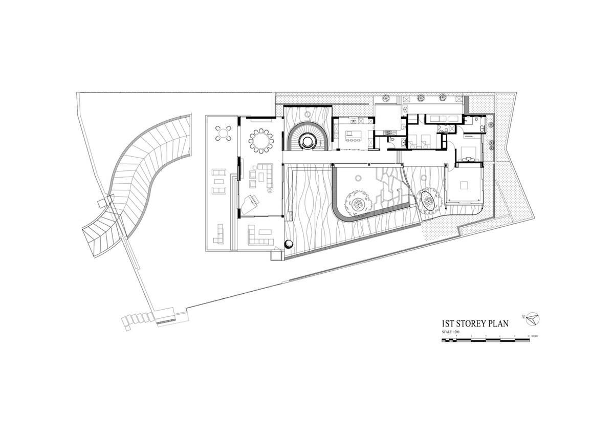 Mặt bằng tầng 1 của ngôi nhà cây
