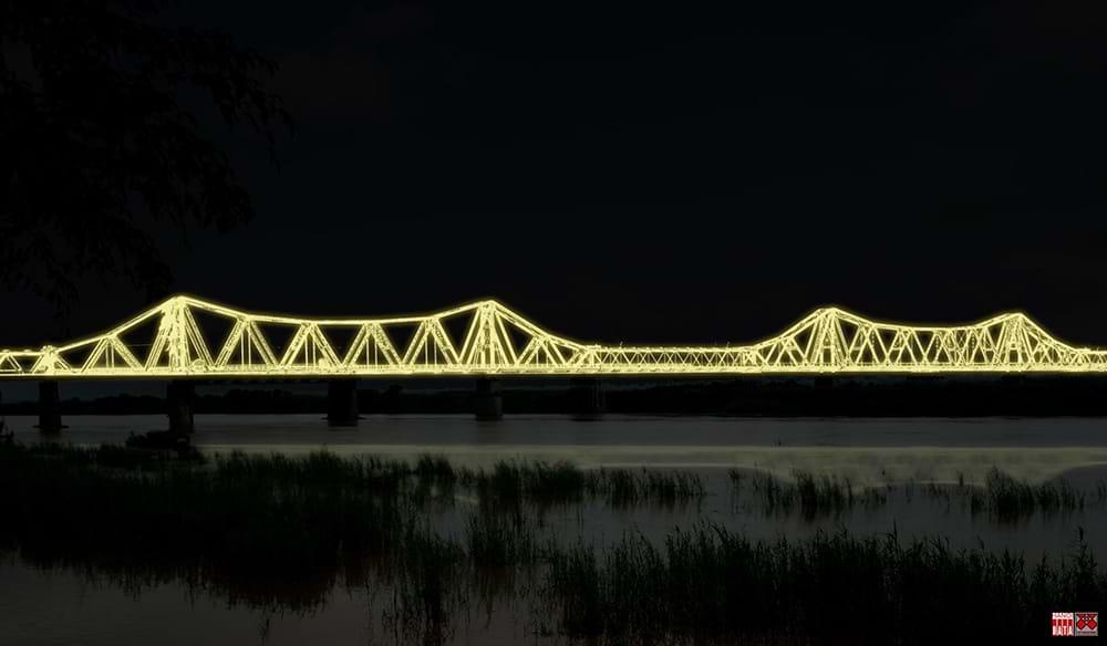 """Cây cầu hơn 100 năm tuổi được """"xây"""" lại bằng... ánh sáng"""