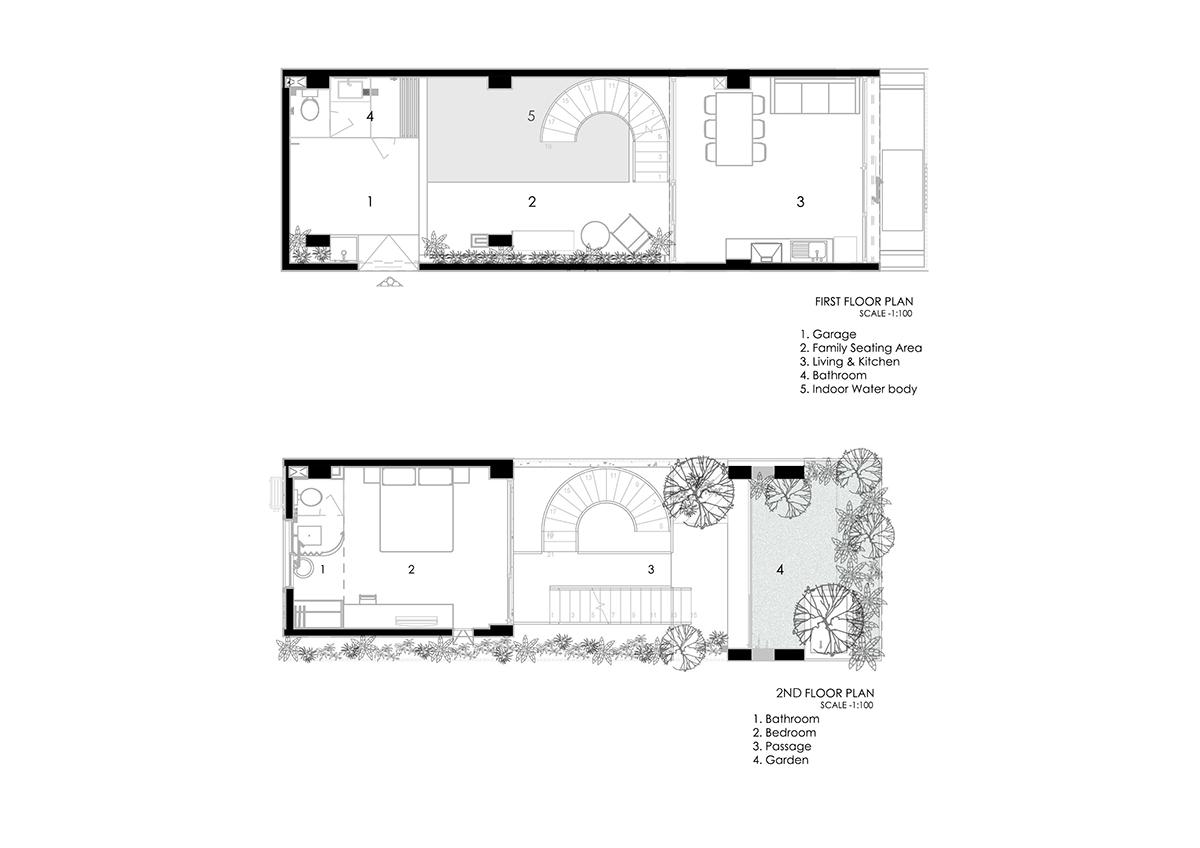 1st FP 2nd FP - The Concrete House 01 / Ho Khue Architects: Ngôi nhà 4 tầng với diện tích lô 5m x 16m