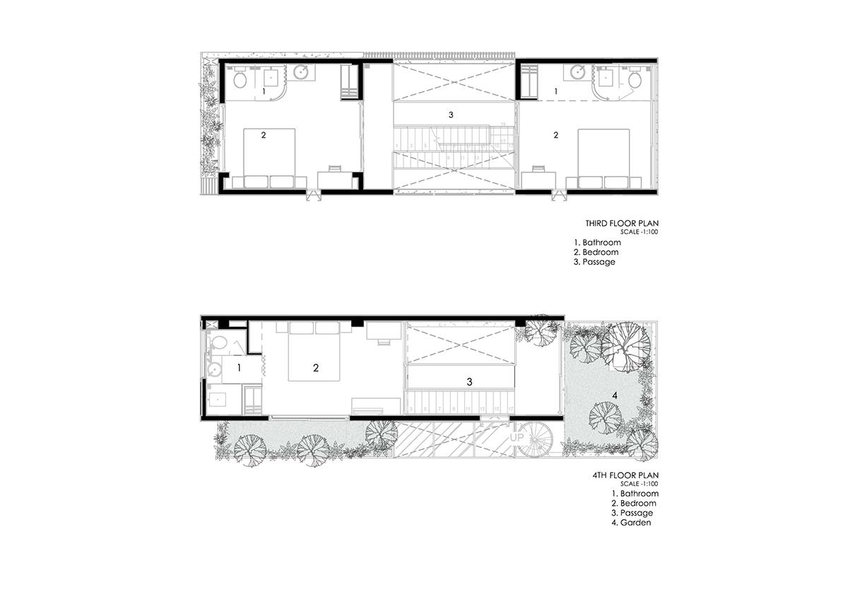 3rd FP 4TH FP - The Concrete House 01 / Ho Khue Architects: Ngôi nhà 4 tầng với diện tích lô 5m x 16m