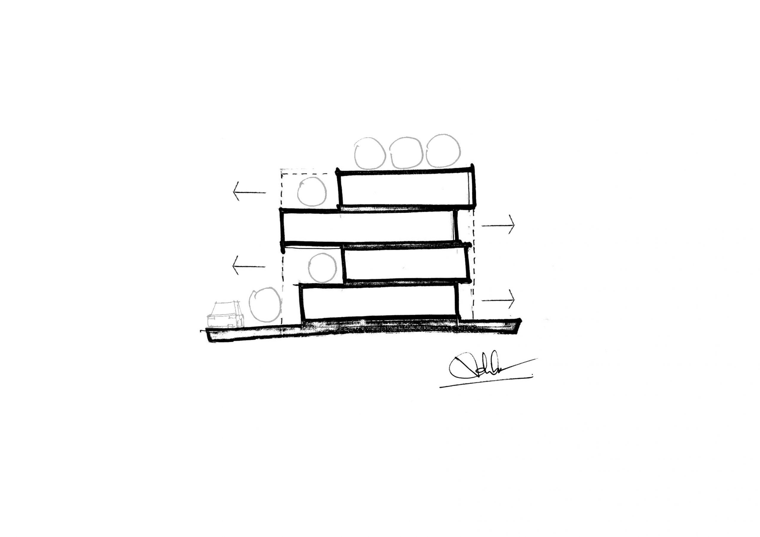 diagram 1 scaled - The Concrete House 01 / Ho Khue Architects: Ngôi nhà 4 tầng với diện tích lô 5m x 16m