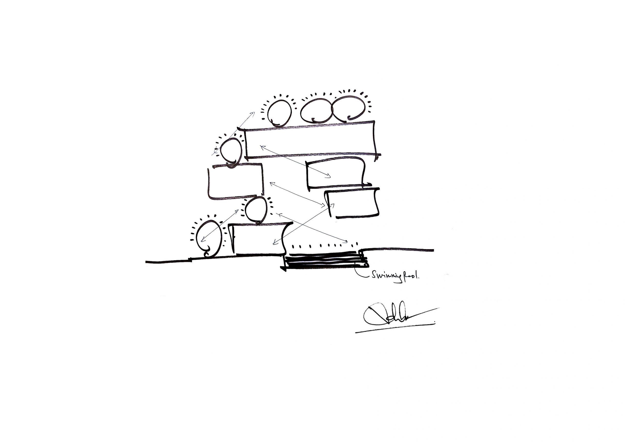 diagram 2 scaled - The Concrete House 01 / Ho Khue Architects: Ngôi nhà 4 tầng với diện tích lô 5m x 16m