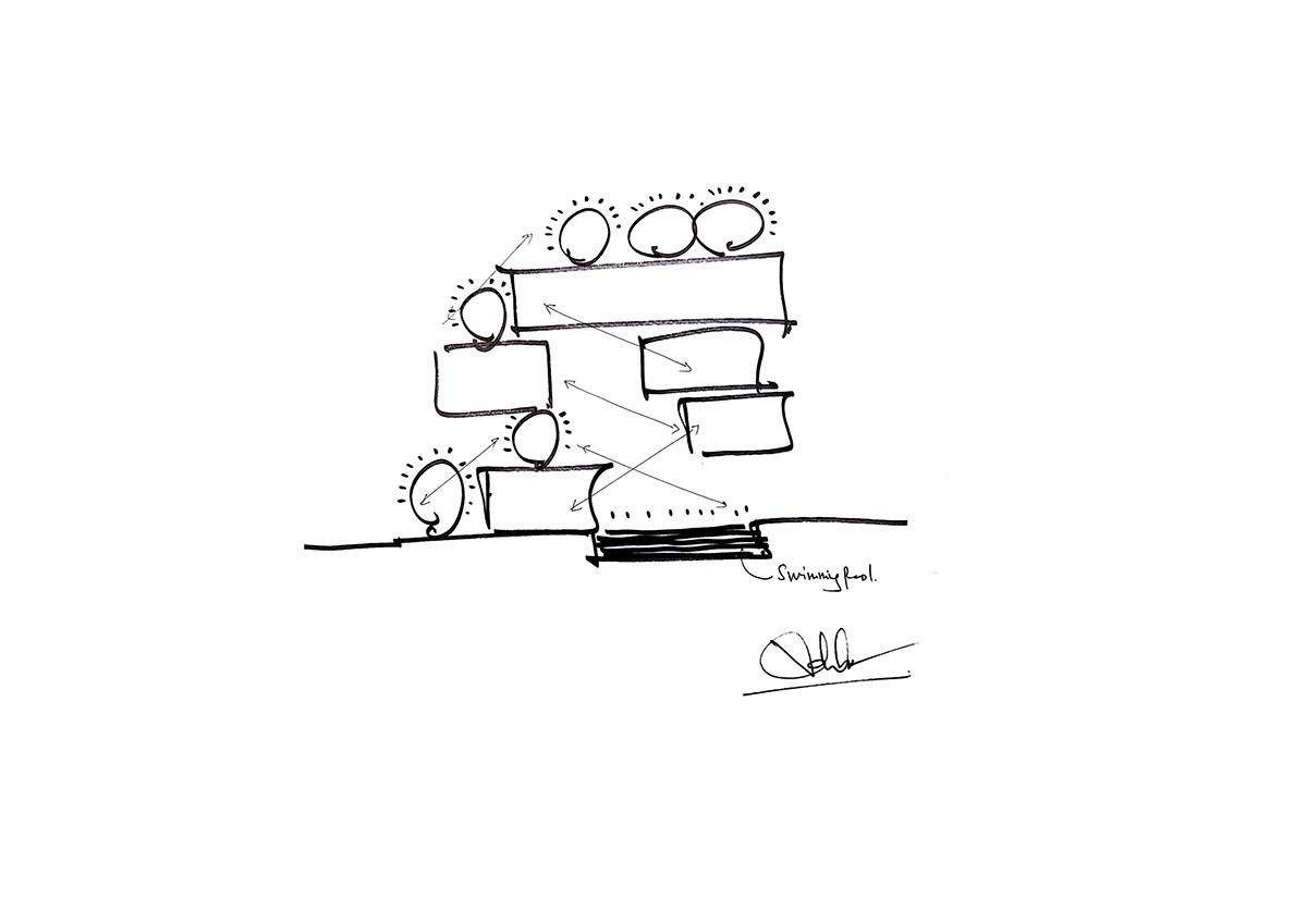 diagram 2 - The Concrete House 01 / Ho Khue Architects: Ngôi nhà 4 tầng với diện tích lô 5m x 16m