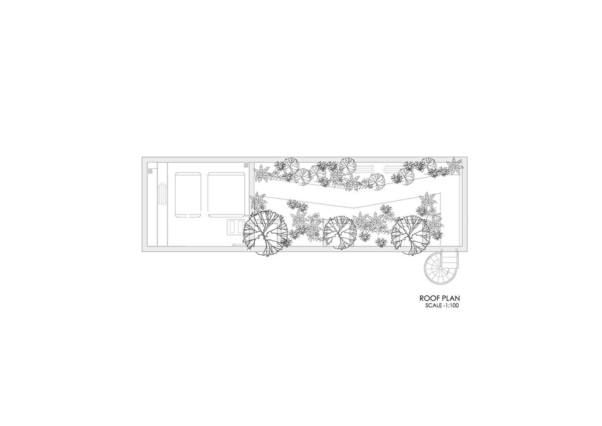 roof FP - The Concrete House 01 / Ho Khue Architects: Ngôi nhà 4 tầng với diện tích lô 5m x 16m