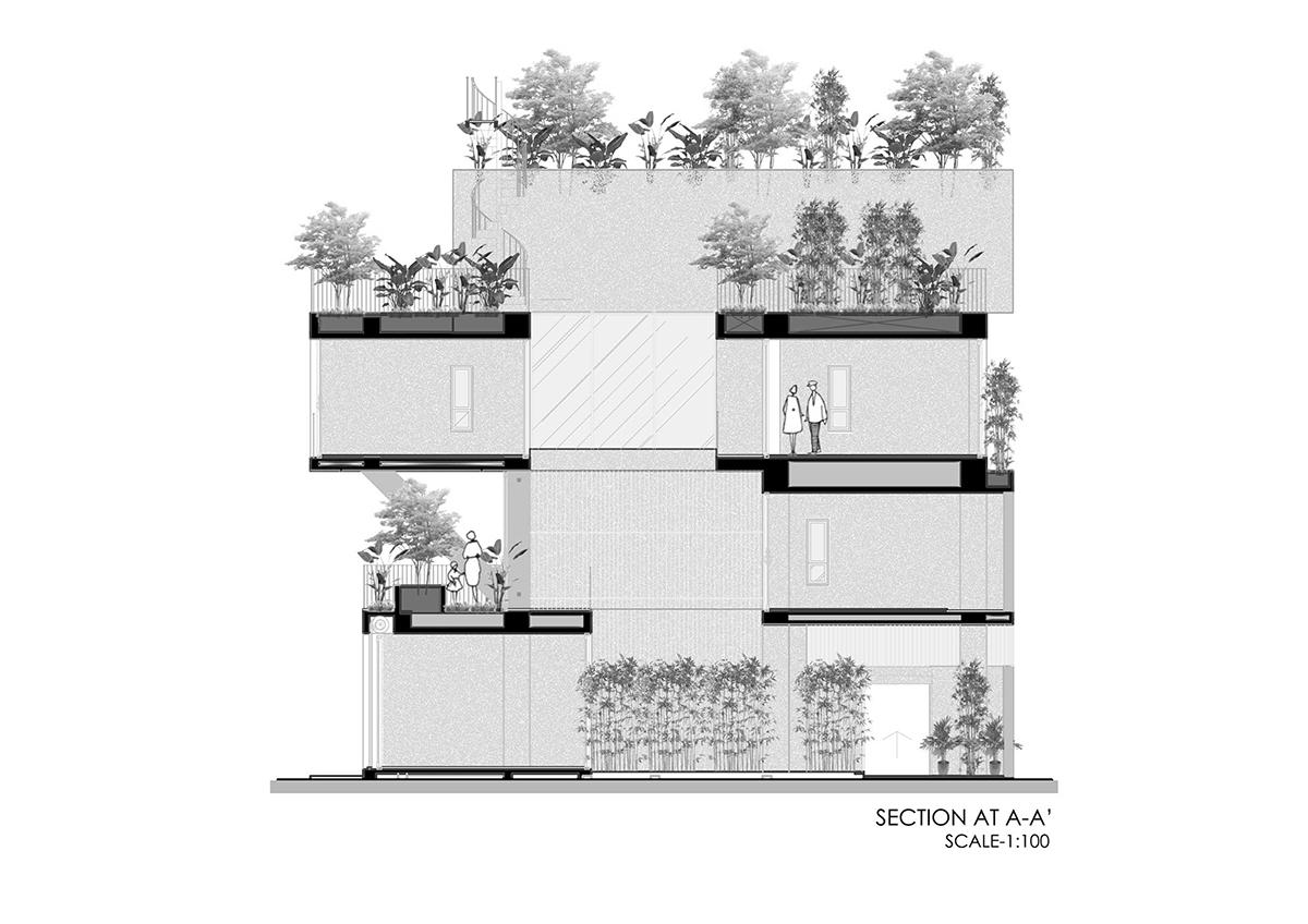 section - The Concrete House 01 / Ho Khue Architects: Ngôi nhà 4 tầng với diện tích lô 5m x 16m