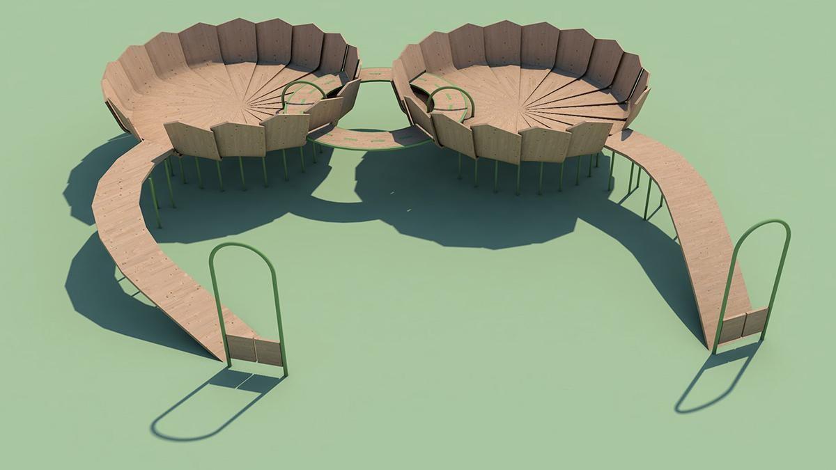 """Rimbin - sân chơi """"không nhiễm trùng"""" thiết kế như hoa loa kèn nước"""