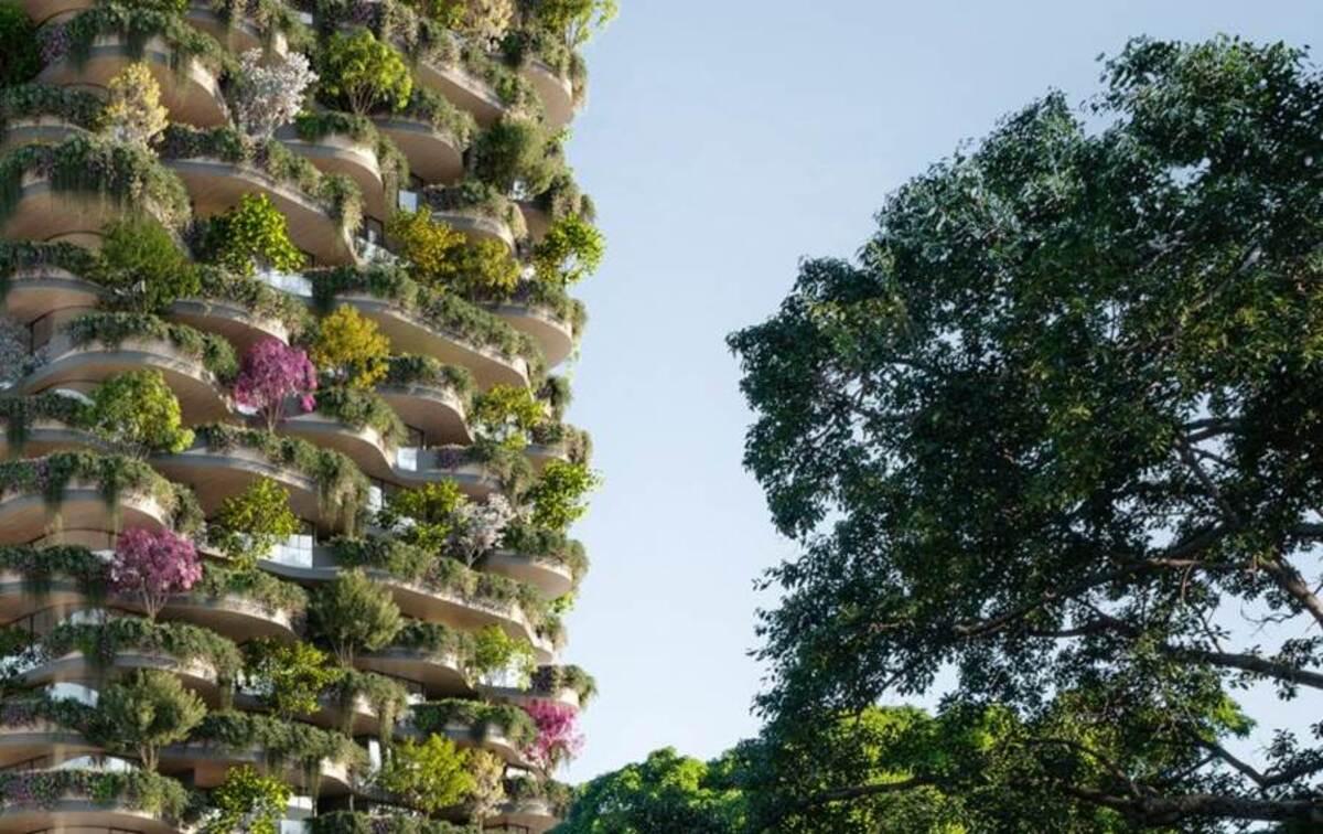 Vén màn bức tranh thực vật bao quanh chung cư đô thị cao tầng Brisbane - Koichi Takada