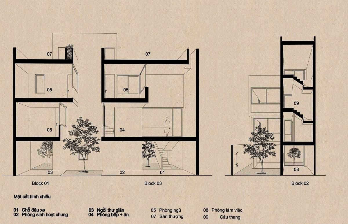 mặt cắt 1 2000x1000 - Nhà Mệ Loan - Khoảng trời đón nắng trong ngõ nhỏ   H-H Studio