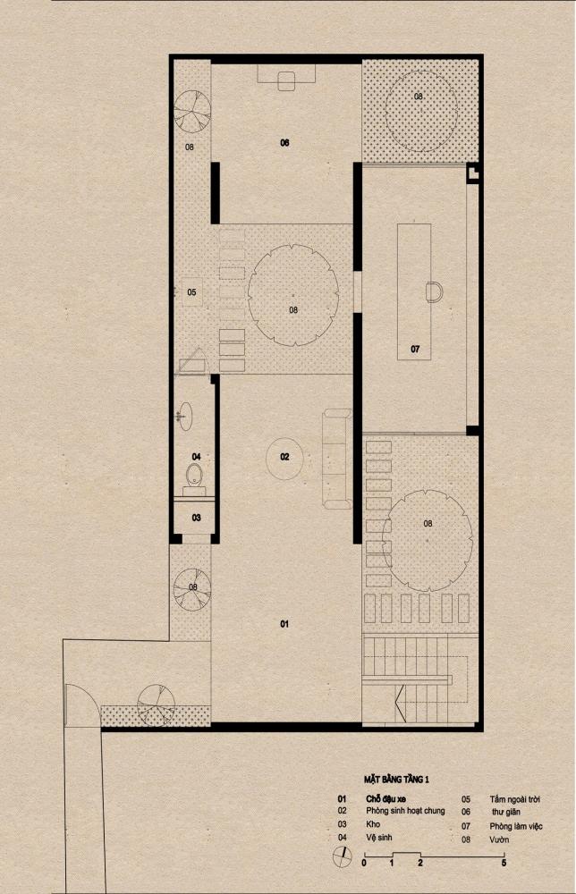 tầng 1 1000x1000 - Nhà Mệ Loan - Khoảng trời đón nắng trong ngõ nhỏ   H-H Studio